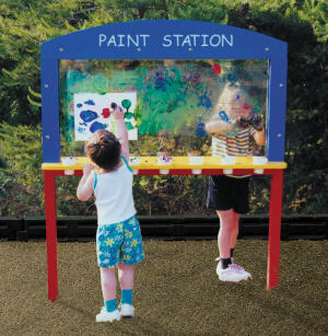 daycare painting station for kids